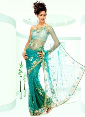 Net Aqua Blue Handwork Classic Designer Saree