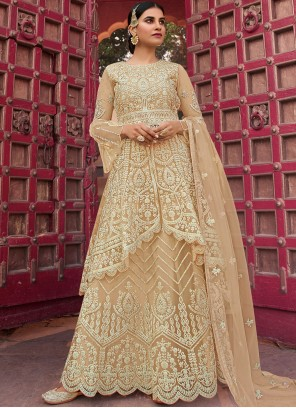 Net Beige Embroidered Designer Pakistani Salwar Suit