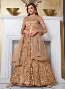 Net Beige Embroidered Long Choli Lehenga