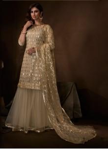 Net Beige Embroidered Salwar Suit