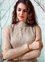 Net Beige Fancy Designer Gown