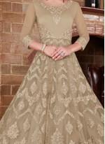 Net Beige Resham Floor Length Anarkali Suit
