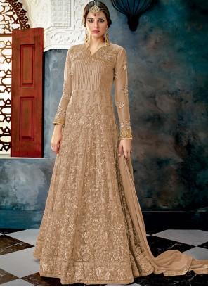 Net Beige Zari Floor Length Anarkali Suit