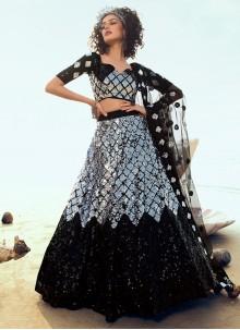 Net Black and Grey Sequins A Line Lehenga Choli