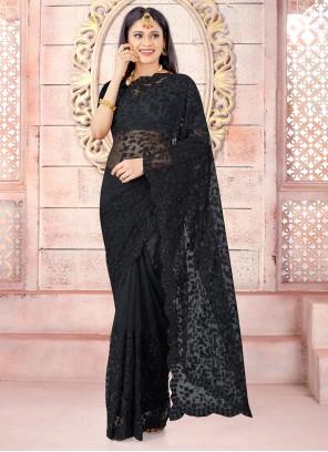 Net Black Designer Traditional Saree