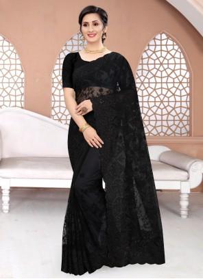 Net Black Embroidered Classic Saree