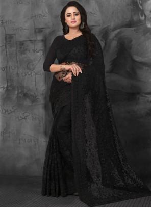 Net Black Embroidered Designer Saree