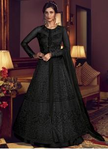 Net Black Embroidered Floor Length Anarkali Suit