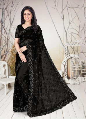 Net Black Embroidered Traditional Saree