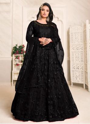 Net Black Floor Length Anarkali Suit