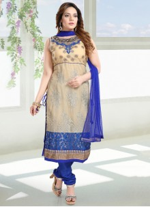 Net Blue and Cream Embroidered Salwar Suit