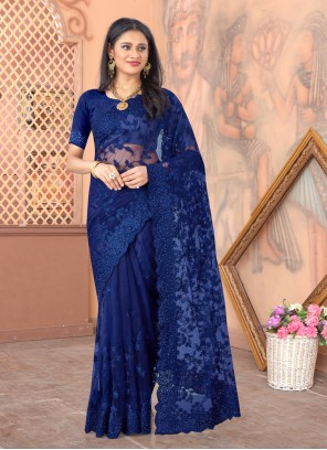 Net Embroidered Blue Designer Saree