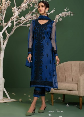 Net Blue Embroidered Pant Style Suit