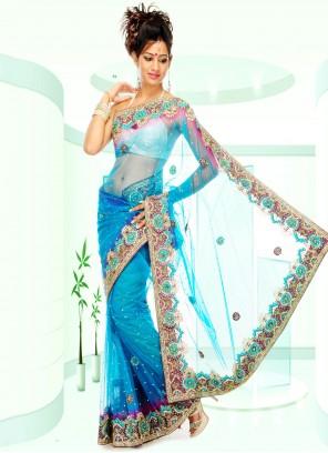 Net Blue Handwork Designer Saree