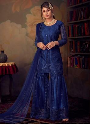 Net Blue Trendy Palazzo Suit