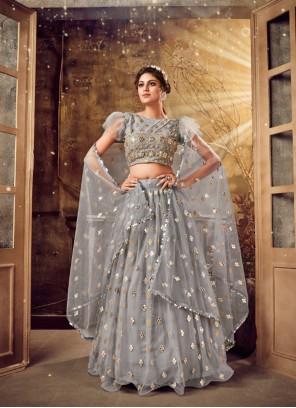 Net Bollywood Lehenga Choli in Grey