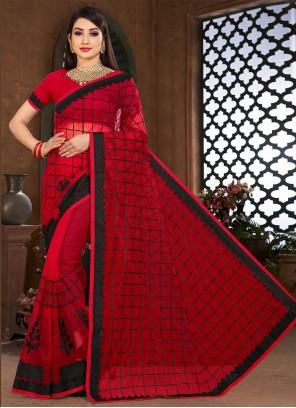 Red Net Ceremonial Classic Designer Saree
