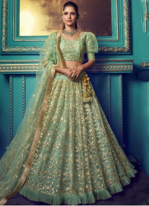 Net Ceremonial Green Designer Lehenga Choli