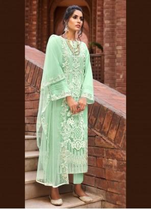 Sea Green Net Ceremonial Designer Pakistani Salwar Suit