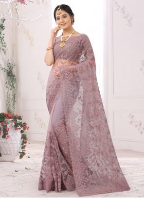 Net Ceremonial Mauve Designer Saree