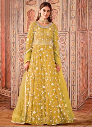 Yellow Net Ceremonial Floor Length Designer Suit