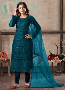 Net Churidar Designer Suit in Teal