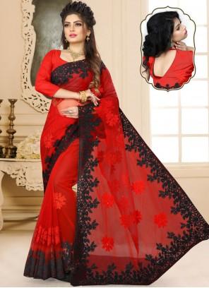 Net Classic Designer Saree in Red