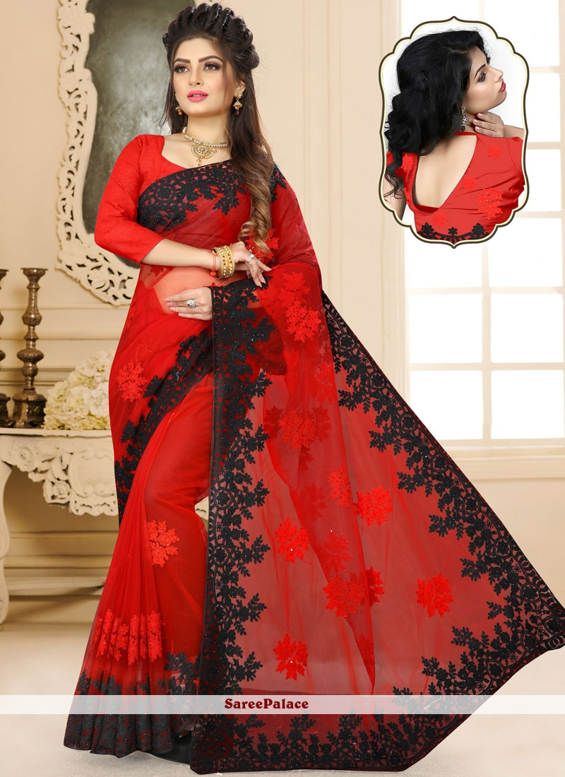 Net Classic Designer Saree in Red