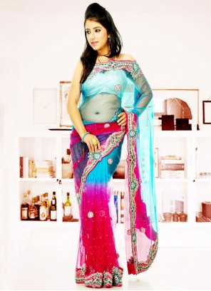 Blue And Pink Net Classic Saree