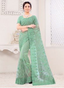 Green Embroidered Net Classic Saree