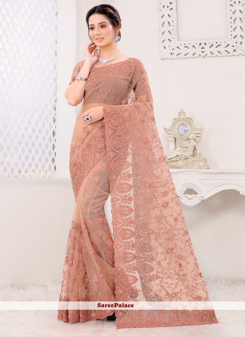 Peach Net Embroidered Classic Saree