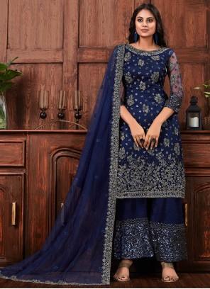 Net Cord Navy Blue Salwar Suit