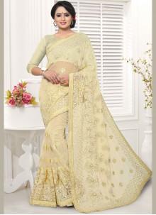 Net Cream Embroidered Saree