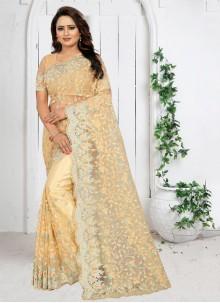 Net Cream Traditional Saree