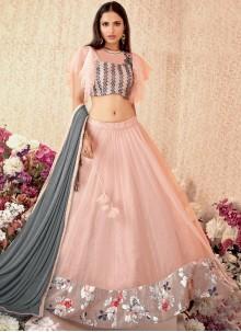 Net Designer A Line Lehenga Choli in Pink