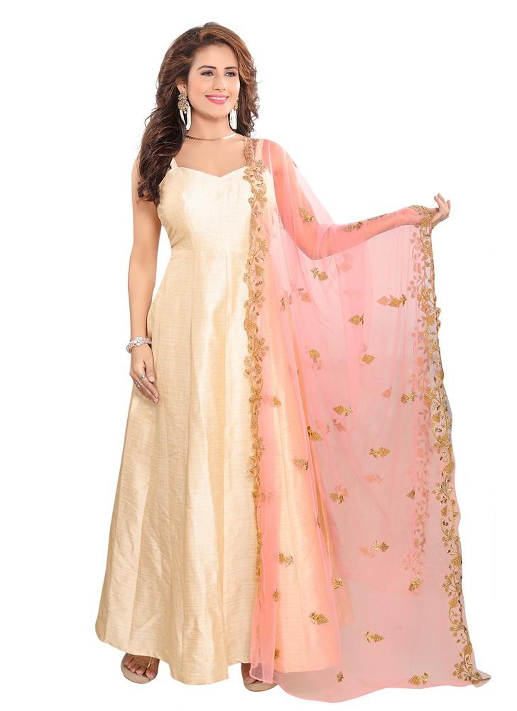 Net Designer Dupatta in Pink