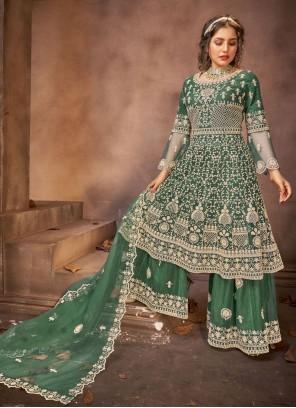 Green Net Designer Pakistani Salwar Suit