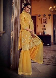 Net Designer Pakistani Salwar Suit in Mustard