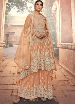 Net Designer Pakistani Suit in Peach