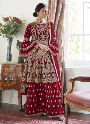 Red Net Designer Palazzo Salwar Suit