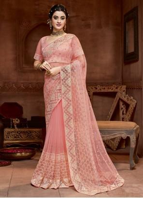 Pink Net Designer Saree
