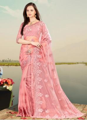 Net Embroidered Pink Designer Saree