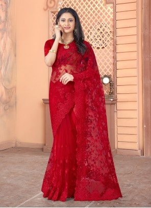 Red Net Embroidered Designer Saree