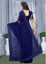 Net Designer Saree in Blue