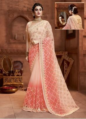 Net Designer Saree in Cream and Peach