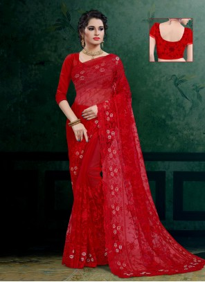 Net Designer Saree in Red