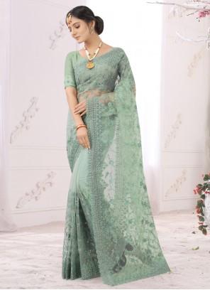 Net Embroidered Designer Saree in Sea Green