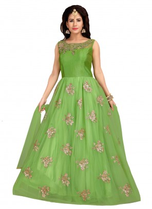 Net Desinger Green Anarkali Suit