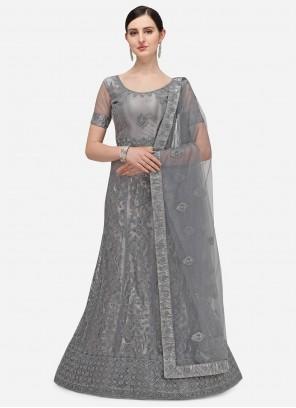 Grey Net Embroidered A Line Lehenga Choli