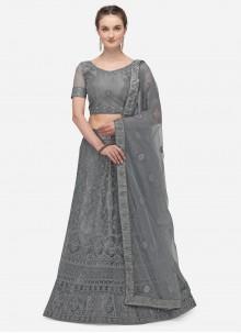 Net Embroidered A Line Lehenga Choli in Grey
